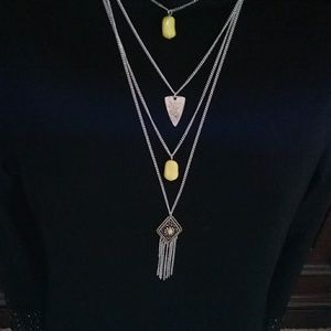 NWT yellow and silver necklace and earring set